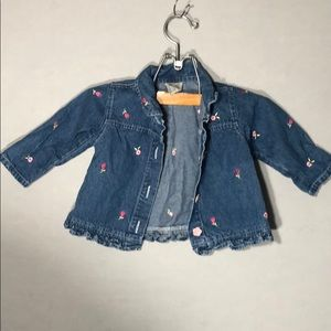 Cute Denim Jacket w/ Embroidered Flowers - 18 M